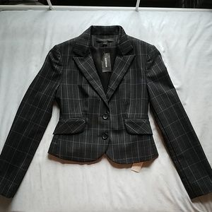 Express Plaid Black Blue Blazer NEW